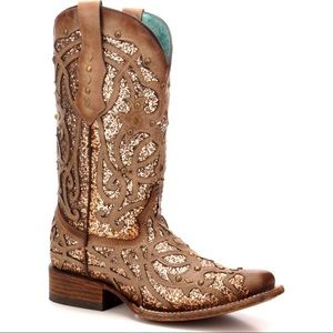 corral gold glitter boots size 7- new